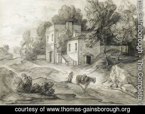 Thomas Gainsborough - Wooded Landscape With Mansion, Figure And Packhorse
