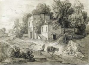 Wooded Landscape With Mansion, Figure And Packhorse