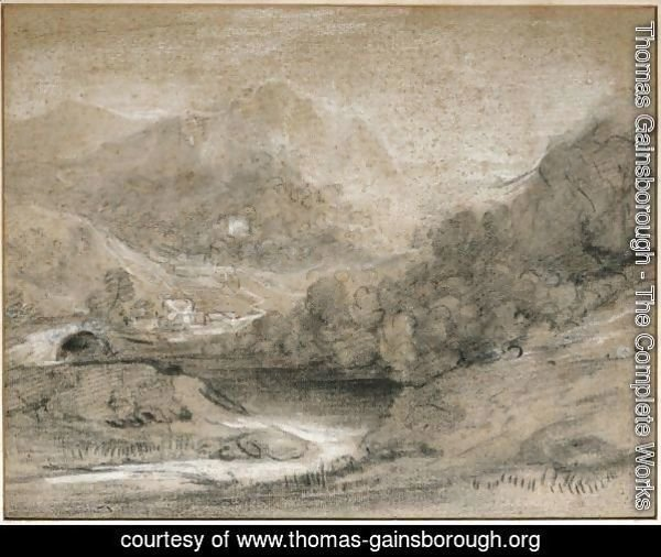 Wooded Mountain Landscape With River And Buildings