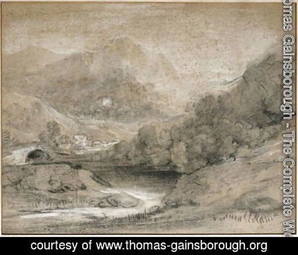 Thomas Gainsborough - Wooded Mountain Landscape With River And Buildings