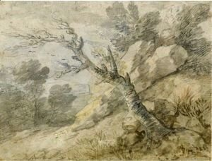Thomas Gainsborough - Wooded Landscape With Rocks And Tree Stump