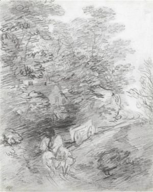 Thomas Gainsborough - Study Of A Bullock Cart On A Winding Track With Nearby Cottage