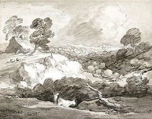 Thomas Gainsborough - An Open Landscape With A Drover And Cow, A Cottage Beyond