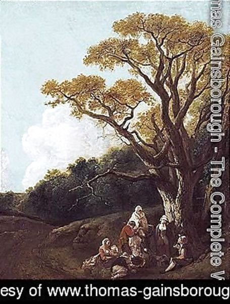 Wooded Landscape With Peasants And Donkey Round A Fire, Figures And Distant Church (The Gypsies)