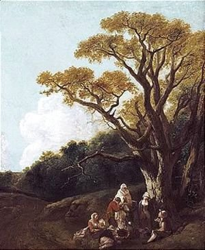 Thomas Gainsborough - Wooded Landscape With Peasants And Donkey Round A Fire, Figures And Distant Church (The Gypsies)