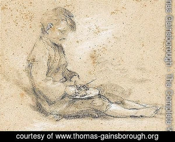 Thomas Gainsborough - Study Of A Beggar Boy Eating