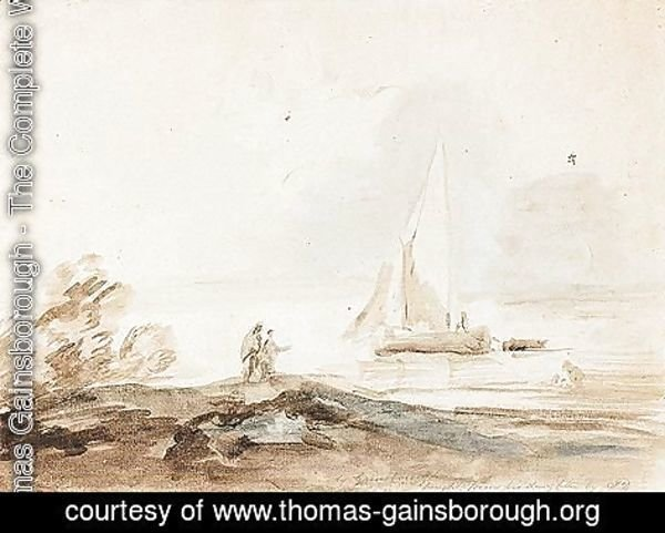 Thomas Gainsborough - Lake Scene With Figures And Sailing Ship