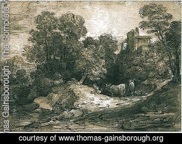 Thomas Gainsborough - Wooded Landscape With Herdsman And Cattle, A Building Beyond To The Right