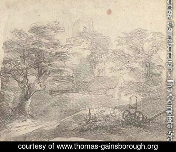 Thomas Gainsborough - A wooded landscape with church and house