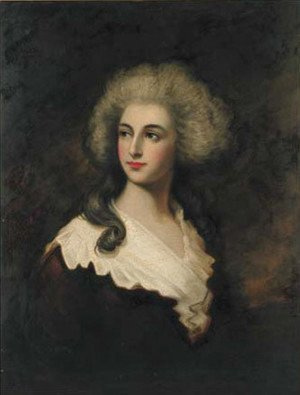 Portrait of a lady, quarter-length, in a brown dress and white wrap