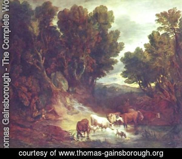 Thomas Gainsborough - A Wooded Landscape with Drinking Animals
