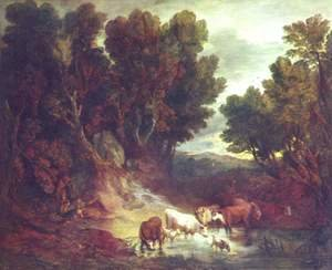 A Wooded Landscape with Drinking Animals