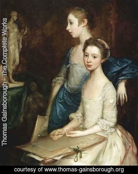 Thomas Gainsborough - Portrait of Molly and Peggy with drawing tools