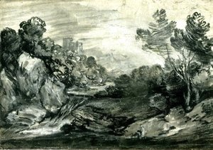 Thomas Gainsborough - Rocky wooded landscape with waterfall, castle and mountain,