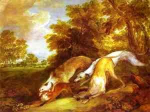 Thomas Gainsborough - Greyhounds coursing a fox