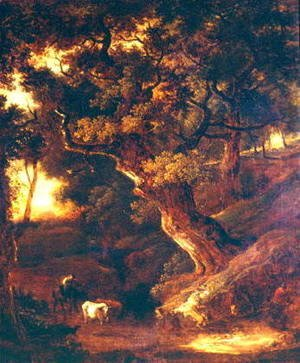 Landscape with cows and human figure