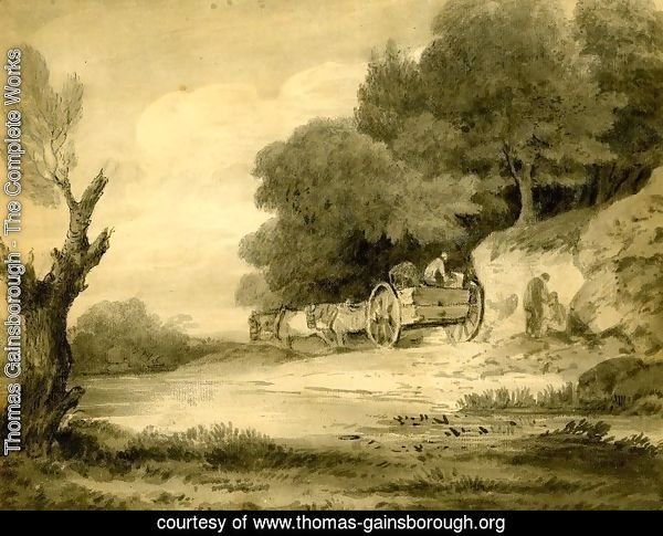 Figures with cart at roadside