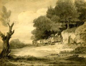 Thomas Gainsborough - Figures with cart at roadside
