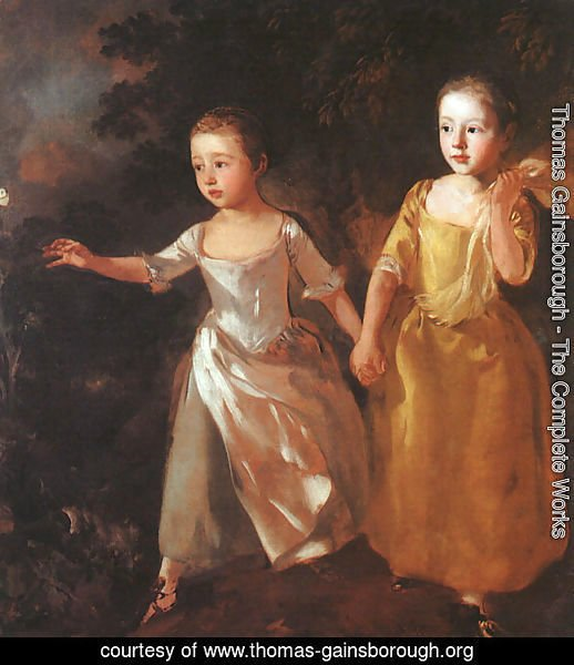 The Painter's Daughters Chasing a Butterfly 1755-56