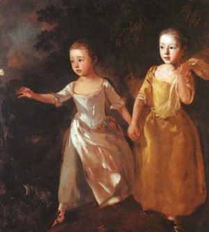 Thomas Gainsborough - The Painter's Daughters Chasing a Butterfly 1755-56