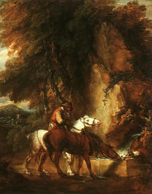 Thomas Gainsborough - Wooded Landscape with Mounted Drover 1780