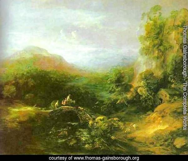 Mountain Landscape with Peasants Crossing a Bridge