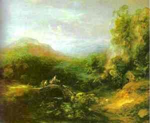 Thomas Gainsborough - Mountain Landscape with Peasants Crossing a Bridge